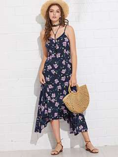 Floral Print Asymmetrical Hem Cami Dress