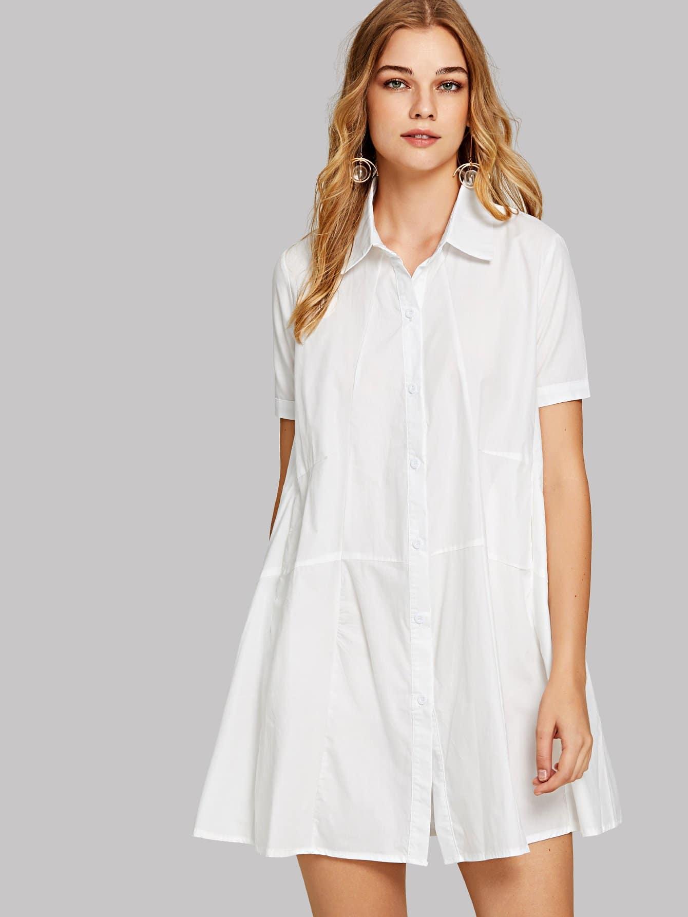 Купить Платье рубашка с короткими рукавами и пуговицами, Teresa, SheIn