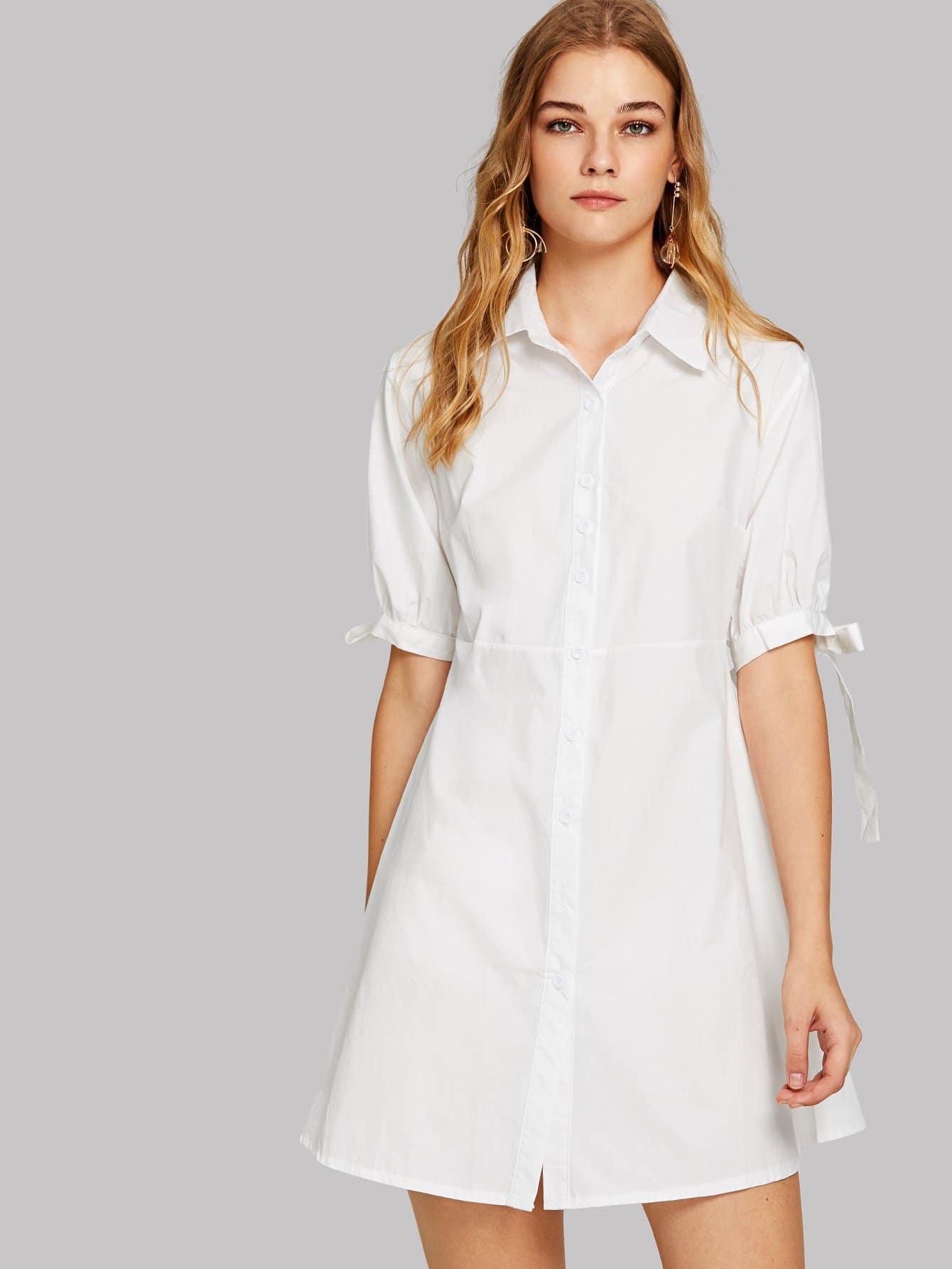 все цены на Knot Cuff Shirt Dress