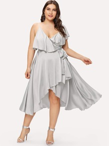 Plus Flounce Asymmetric Neck Wrap Dress