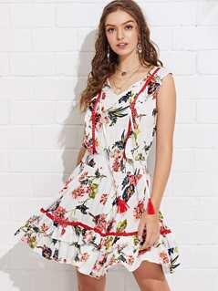 Tassel Tie Lace Insert Floral Dress