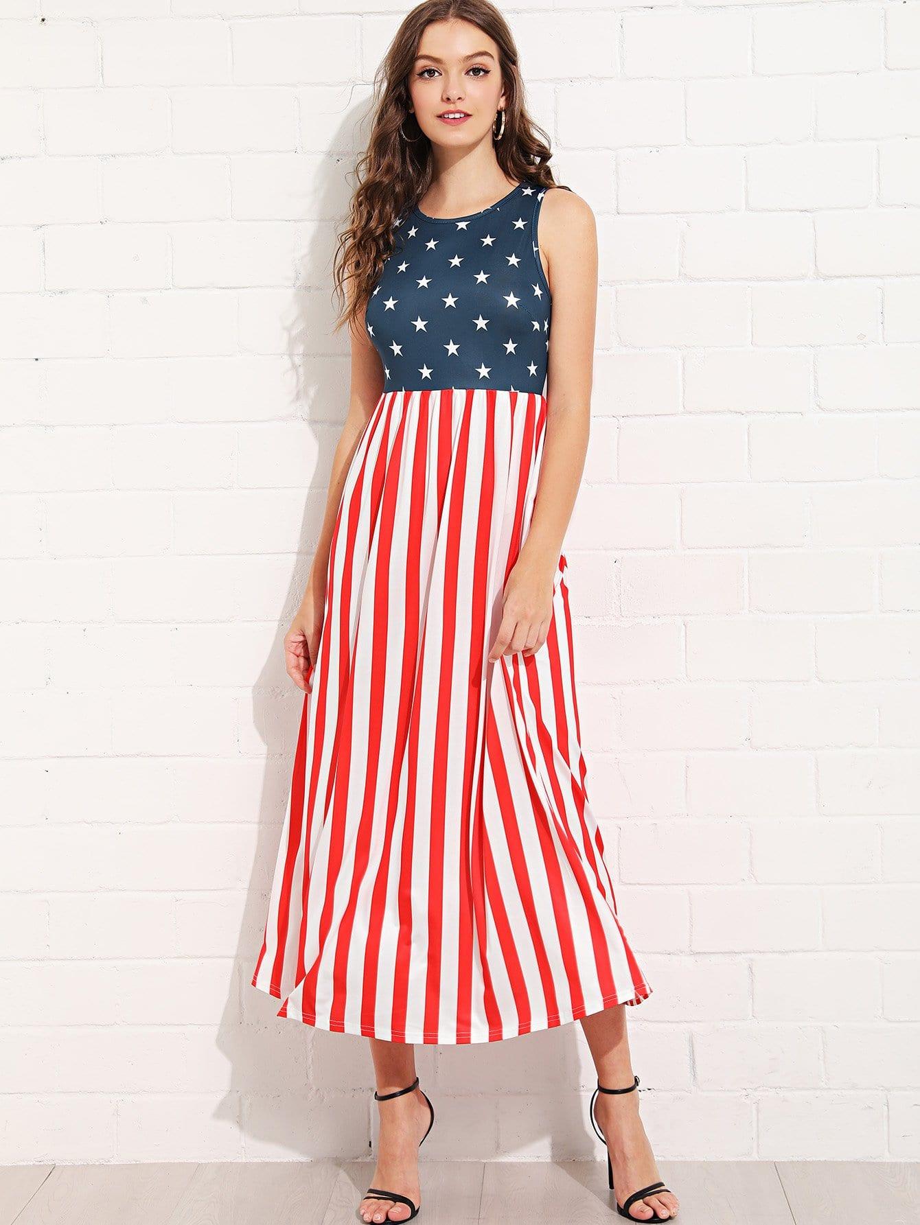 Mixed Print Sleeveless Dress mixed print dress