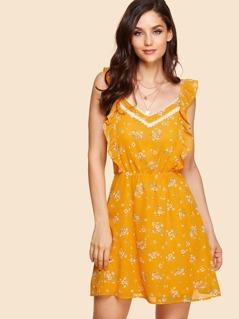 Lace Applique Ruffle Trim Dress