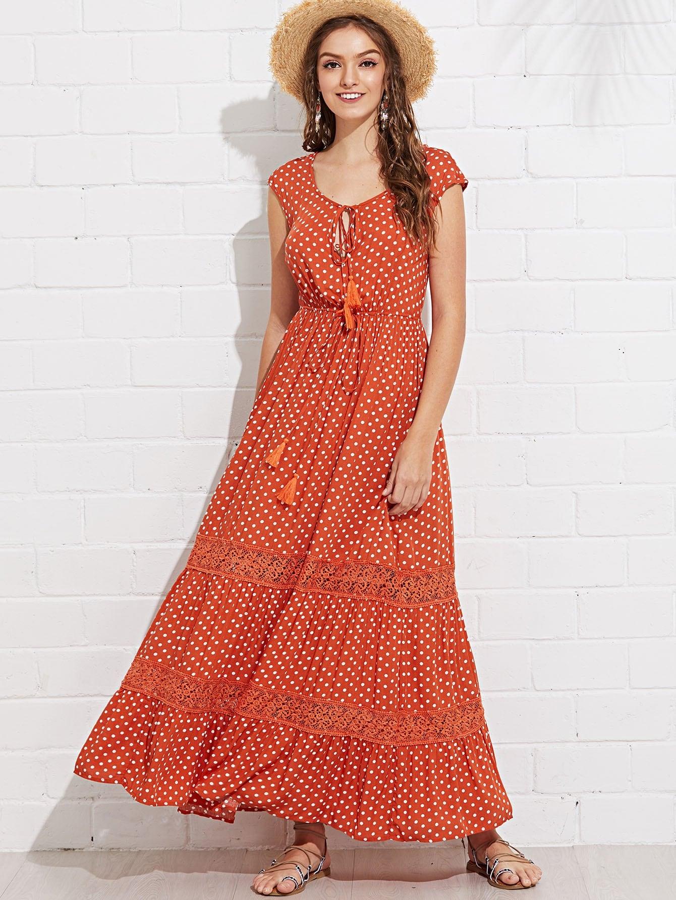 Lace Applique Dot Swing Dress lace velvet swing dress