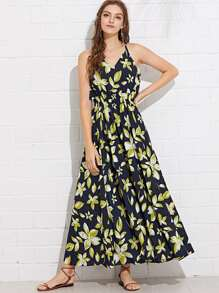 Shirred Waist Floral Halter Dress