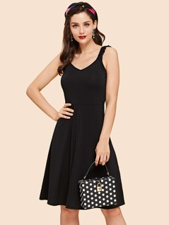 Solid Dress with Frill Strap