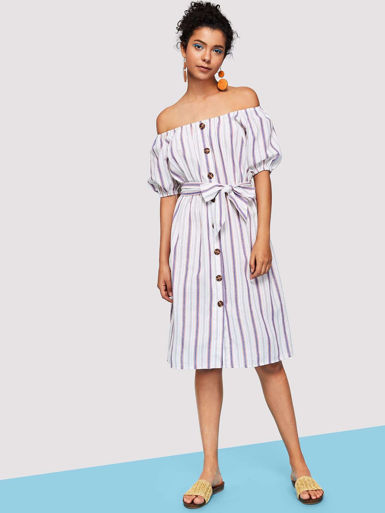Button Through Puff Sleeve Belted Striped Dress striped pockets belted pencil dress
