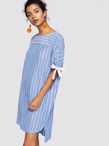 Contrast Knotted Cuff Striped Dress
