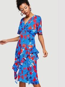 Flower Print Flounce Detail Dress