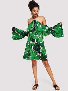 Flounce Halter Off Shoulder Tropical Dress