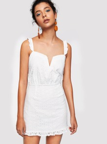 Ruffle Strap Eyelet Embroidered Dress