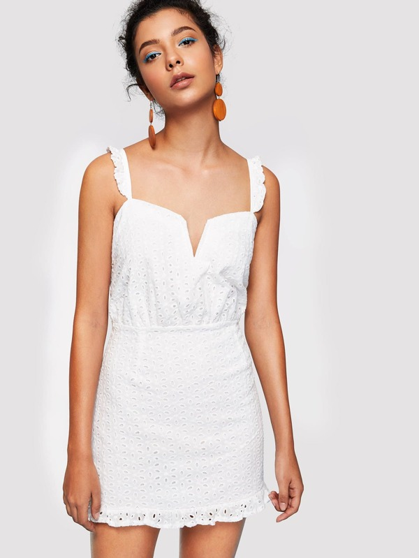 Ruffle Strap Eyelet Embroidered Dress by Shein