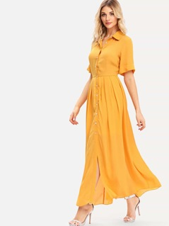 Button Through Box Pleated Shirt Dress