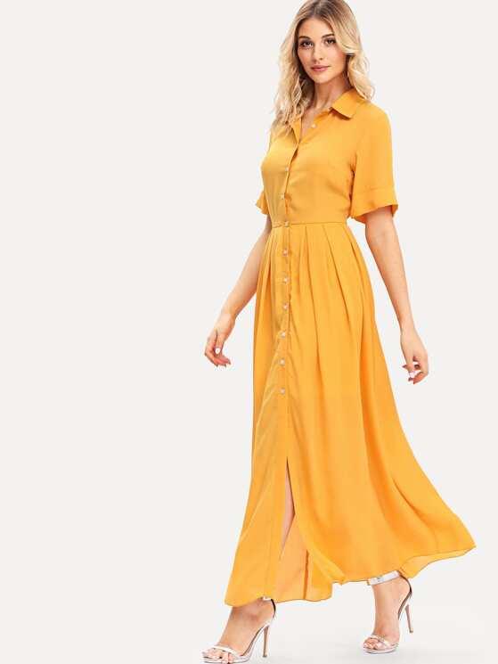 f450549215bb Button Through Box Pleated Shirt Dress