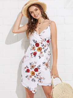 Flower Print Wrap Cami Dress