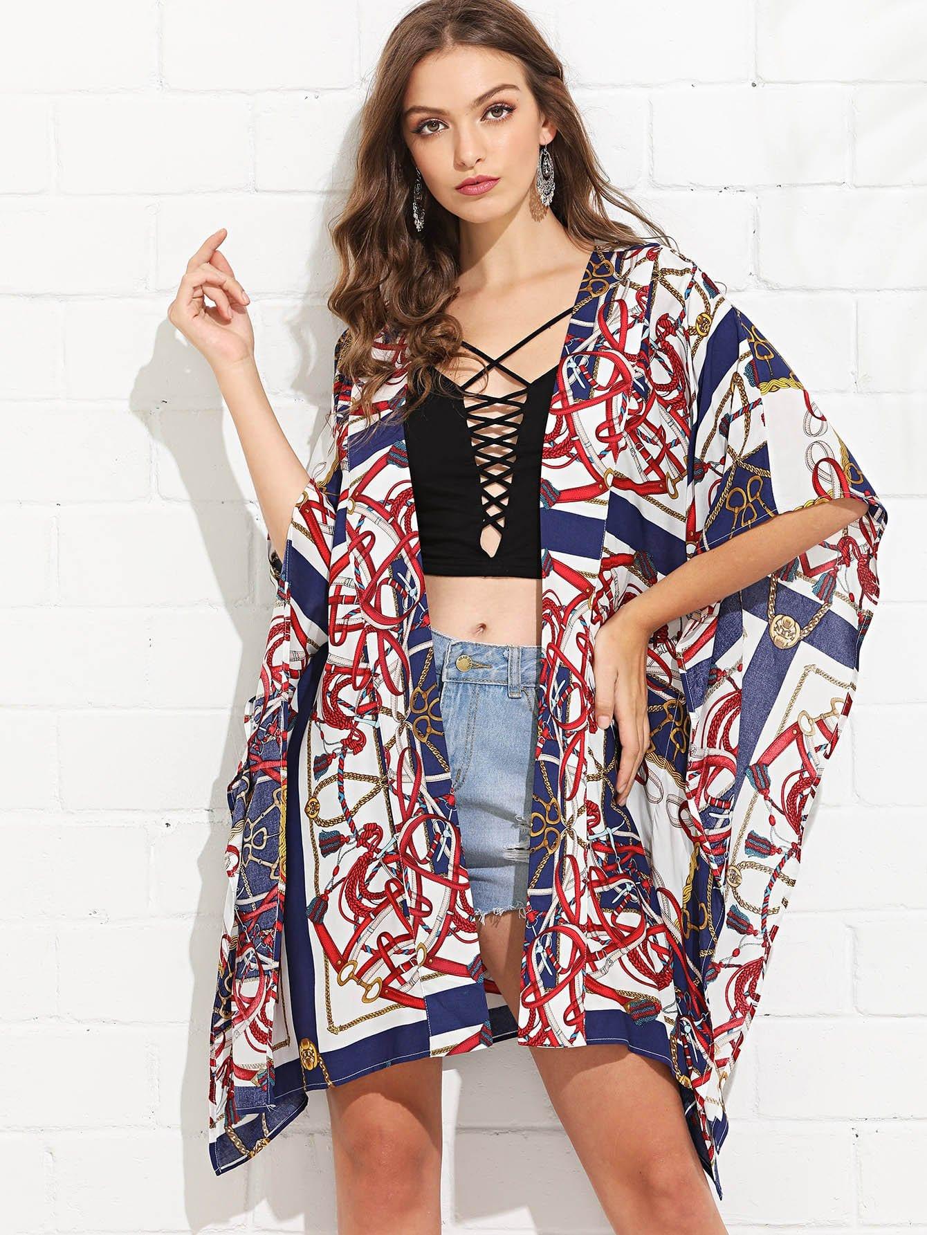 Equestrian Print Longline Kimono rib knit longline kimono
