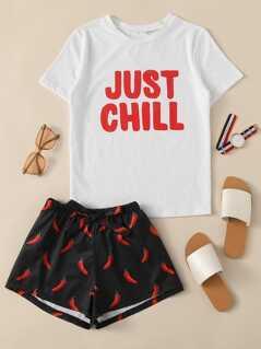 Letter Print Top & Drawstring Waist Shorts PJ Set