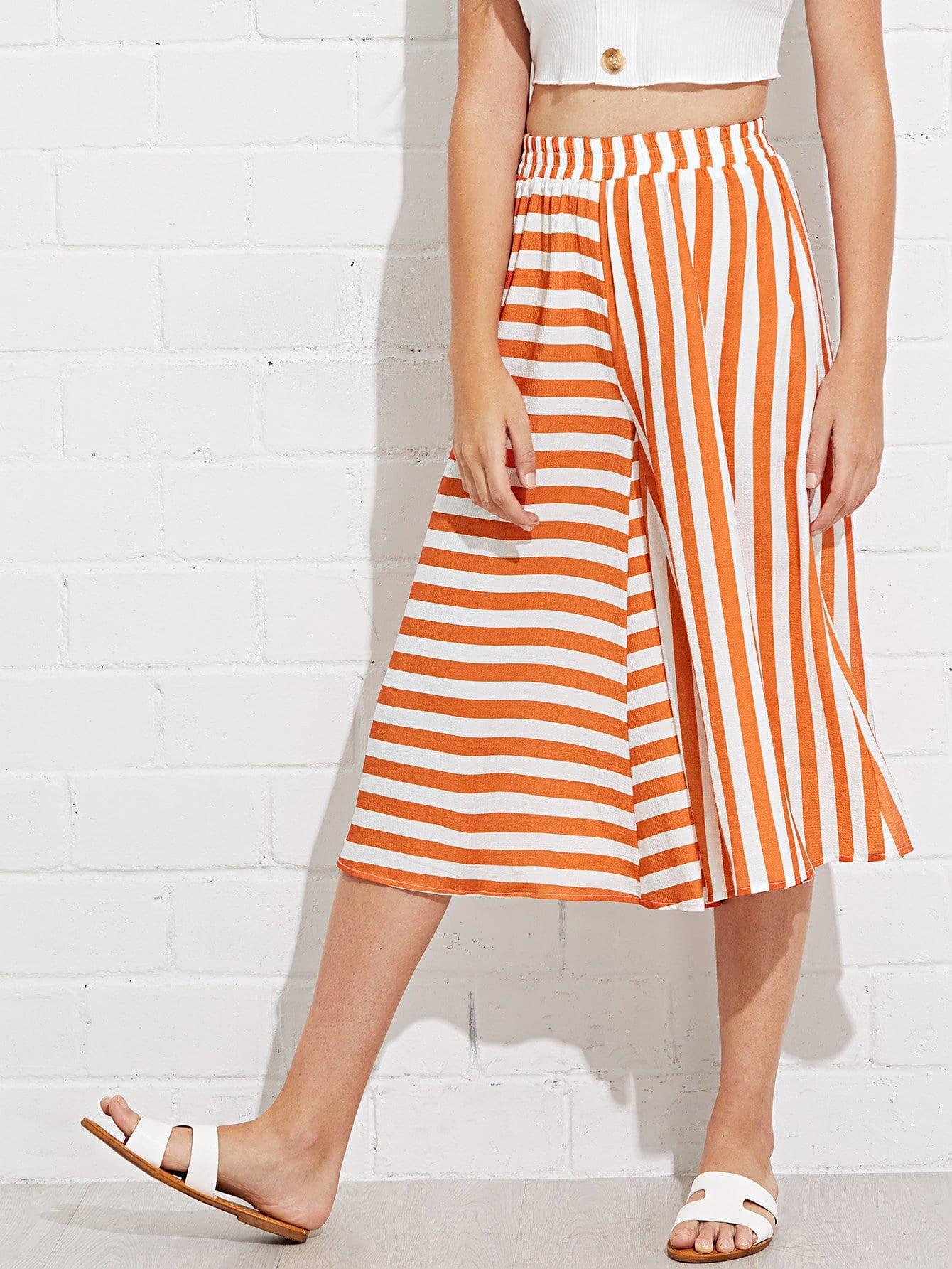 Mixed Stripe Culotte Pants spot culotte pants