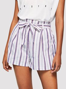 Striped Linen Shorts with Belt