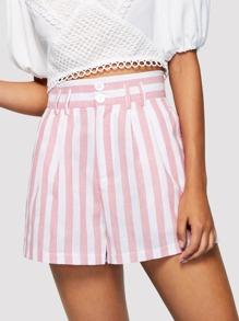 Wide Leg Striped Shorts