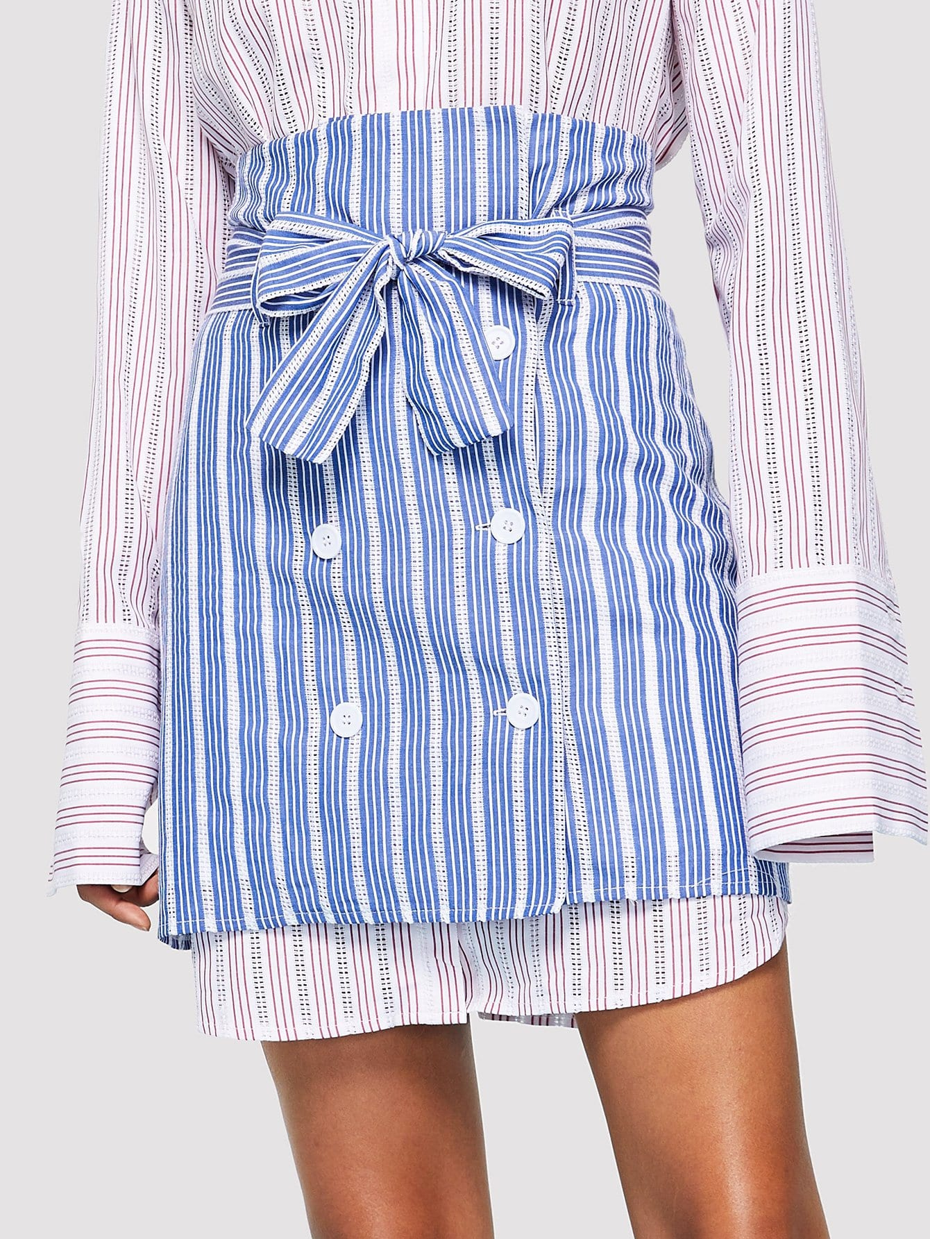Double Breasted Striped Skirt with Belt double breasted pencil skirt