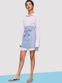 Double Breasted Striped Skirt with Belt