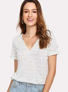 Double V-Neck Striped T-shirt