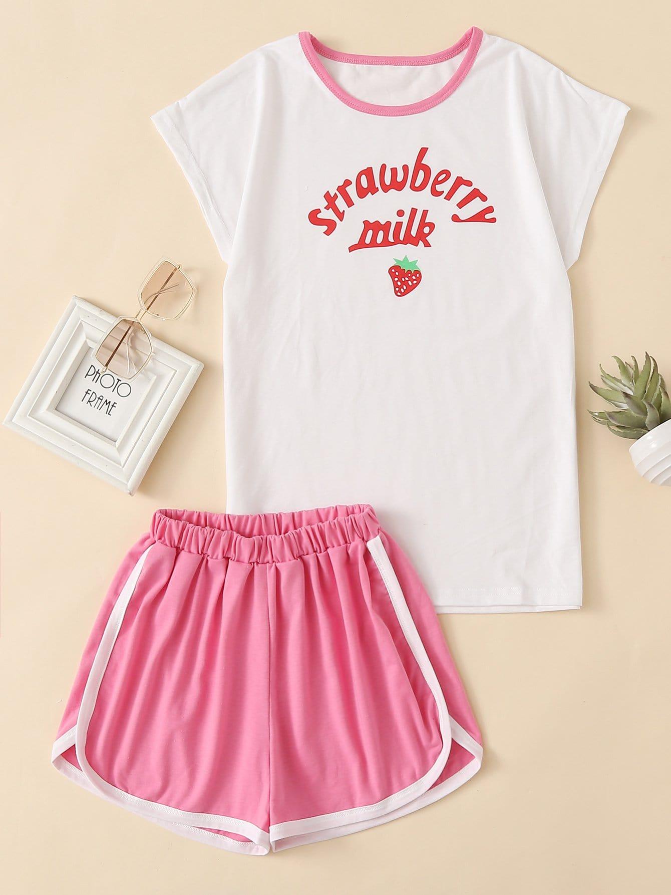 Strawberry Print Top & Dolphin Hem Shorts Set tropical print dolphin shorts