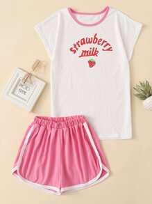 Strawberry Print Top & Dolphin Hem Shorts Set