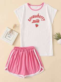 Strawberry Print Top & Dolphin Hem Shorts Set