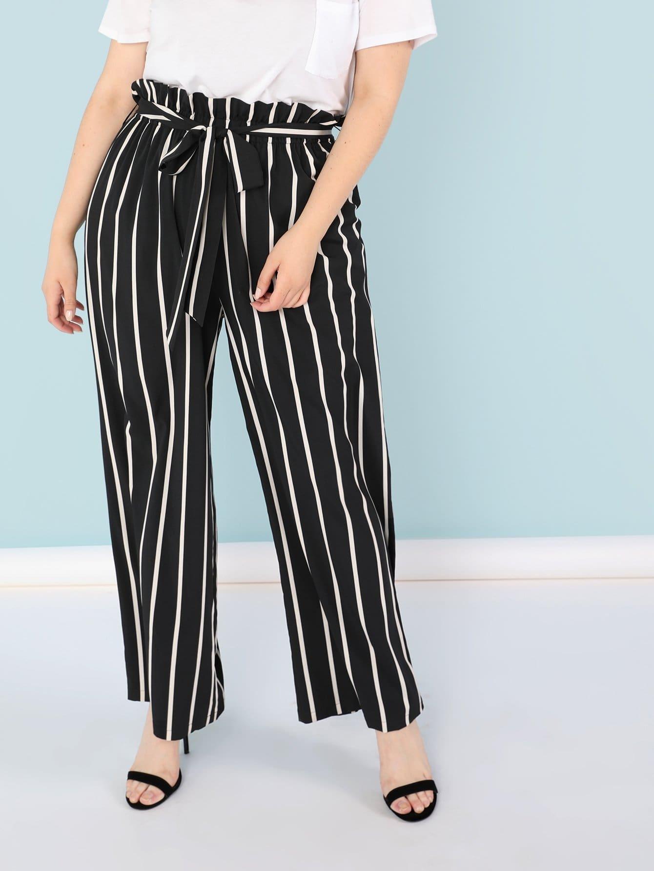 Ruffle Waist Vertical Stripe Flare Hem Pants elastic waist scallop ruffle hem pants