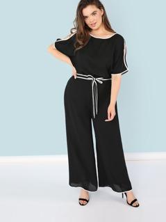 Plus Contrast Binding Slit Sleeve Top & Wide Leg Pants Set