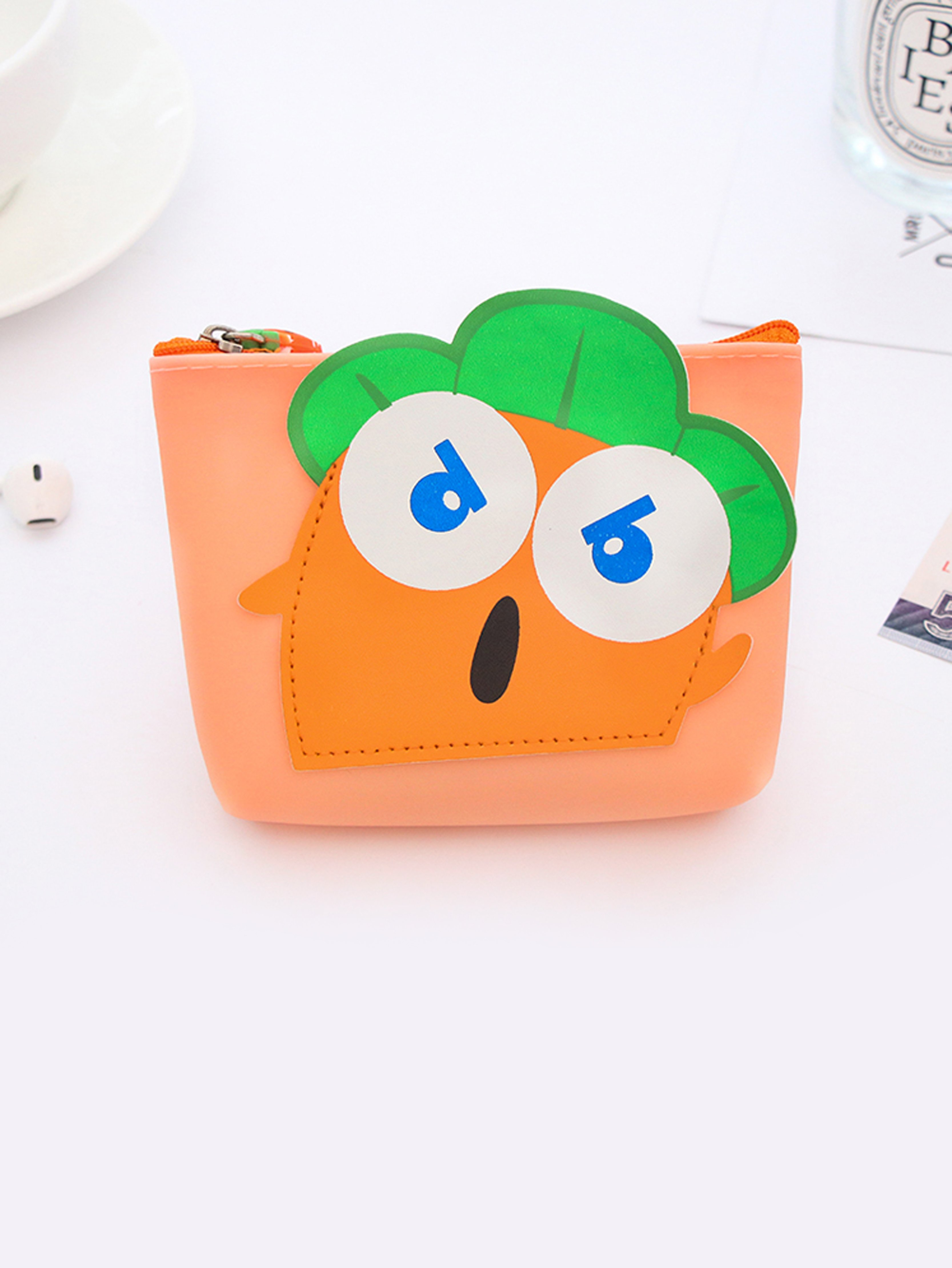Cartoon Carrot Coin Purse novelty pokemon silicone coin purse pocket monster anime cartoon pikachu zipper wallet mini round earphone holder kids coin bags