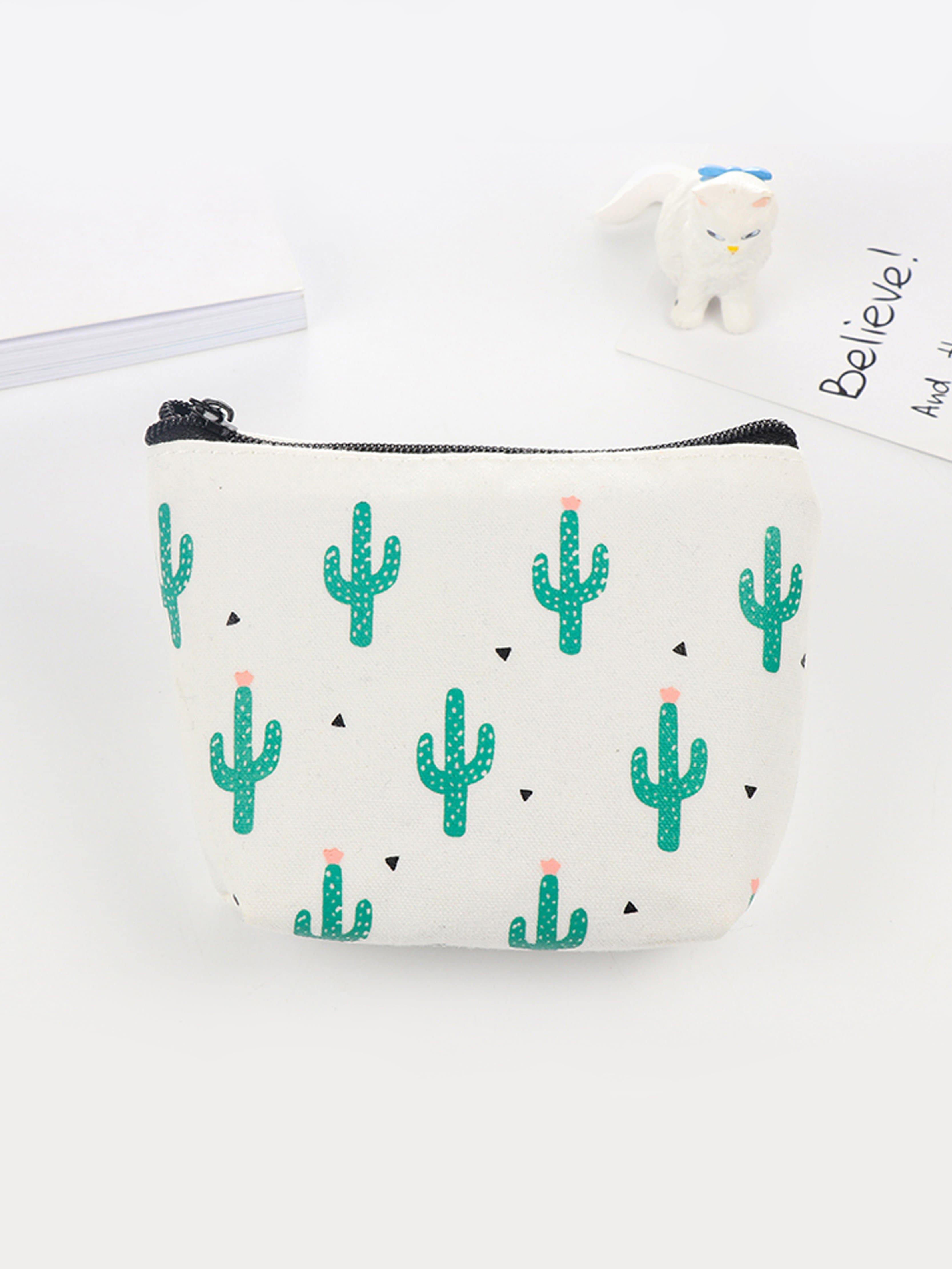 Cacti Print Coin Purse 2017 cute girls coin purses small coin bag key ring kawaii bag kids mini wallet card holders leather cartoon coin purse1bw73