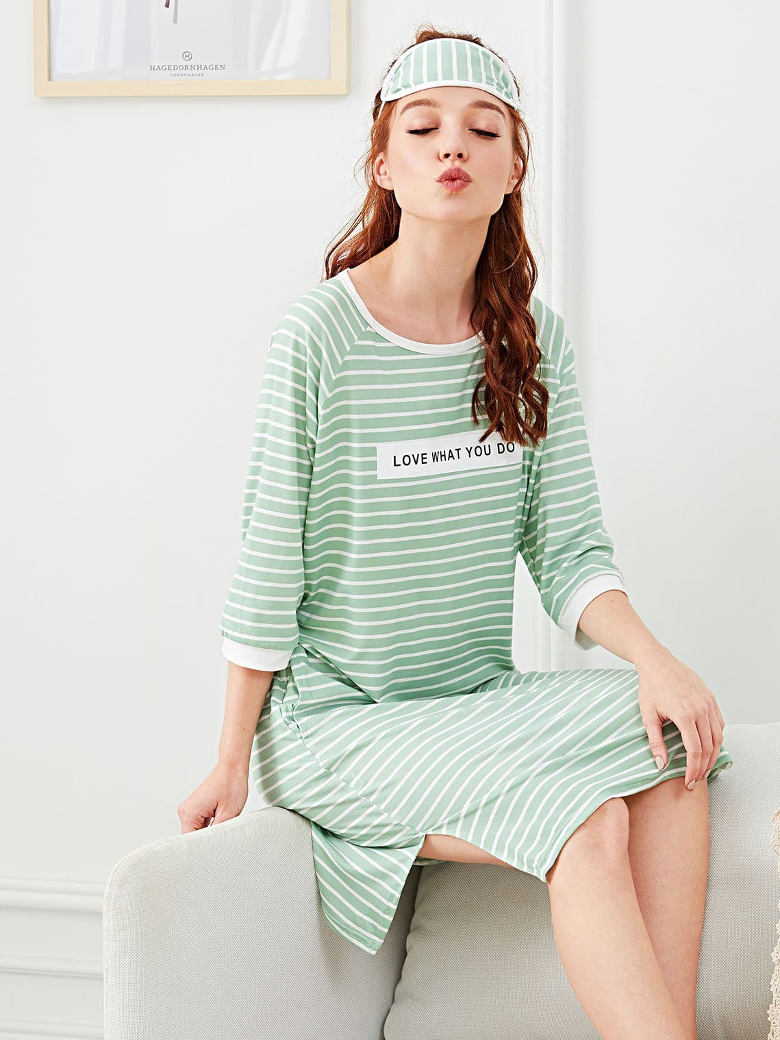 Letter Print Striped Dress With Eye Mask fruit print striped night dress with eye mask