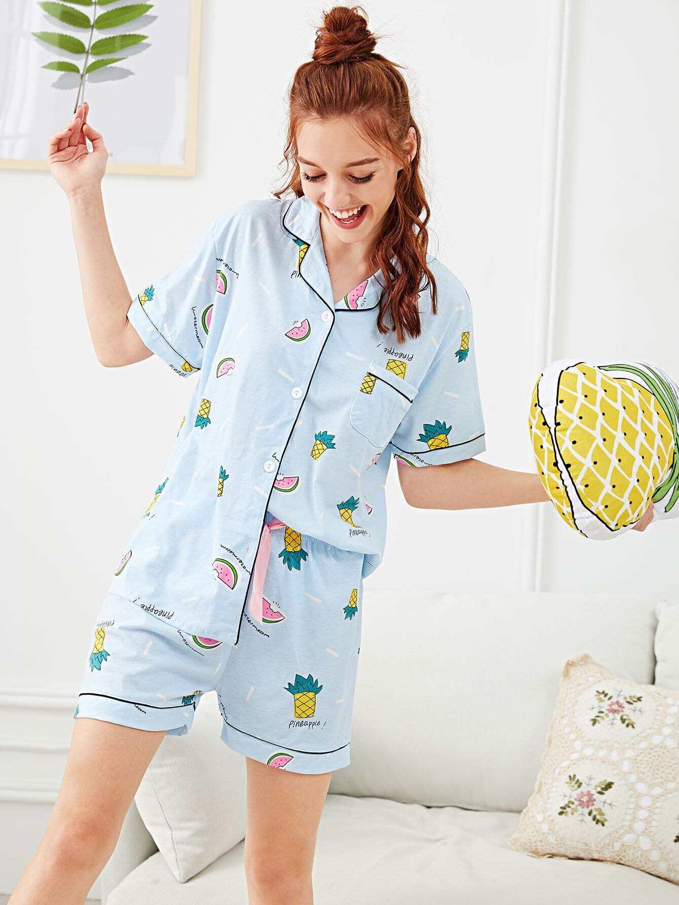 Купить Комплект пижамы с принтом надпись и фрукты, Poly, SheIn