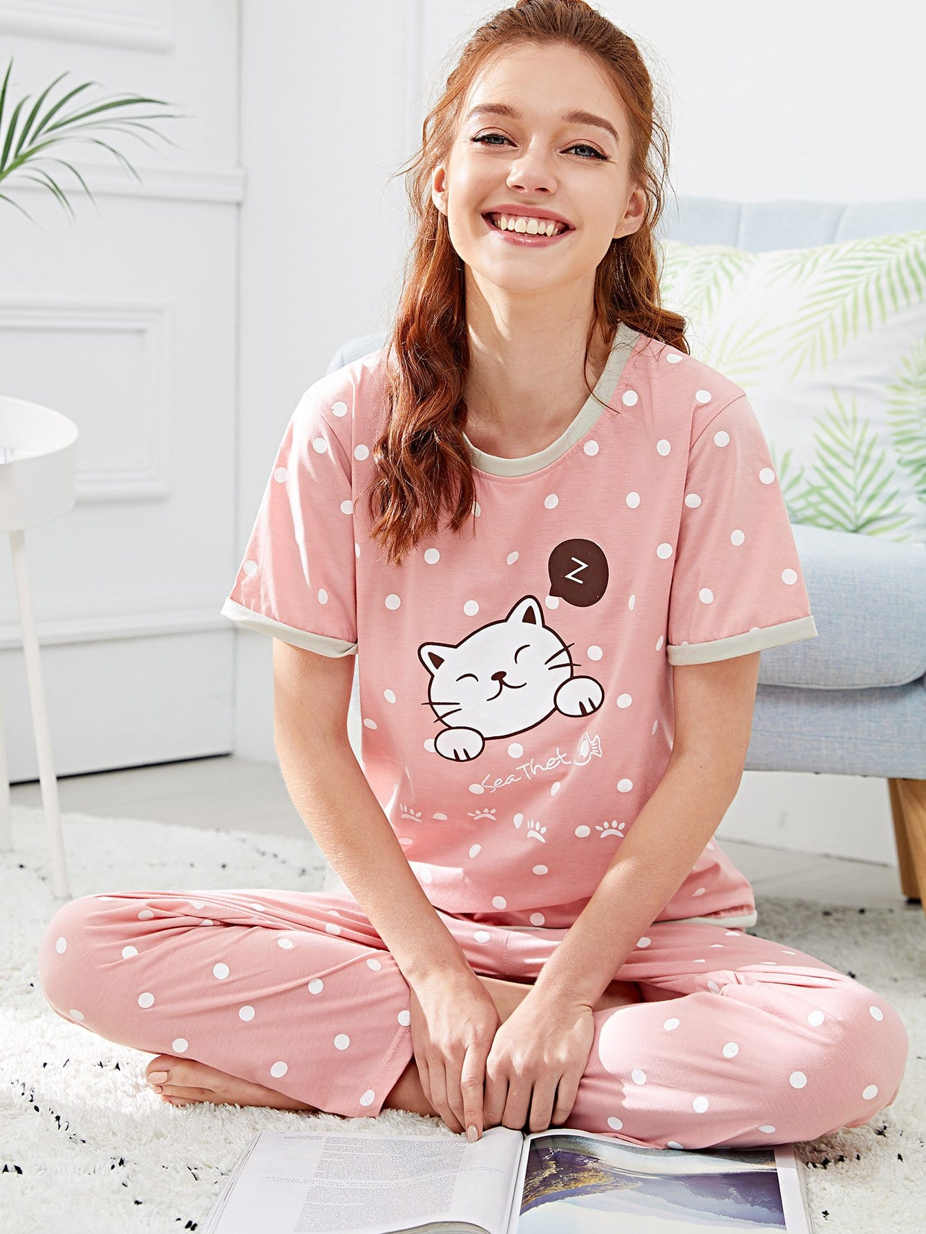 Cartoon Print Polka Dot Pajama Set