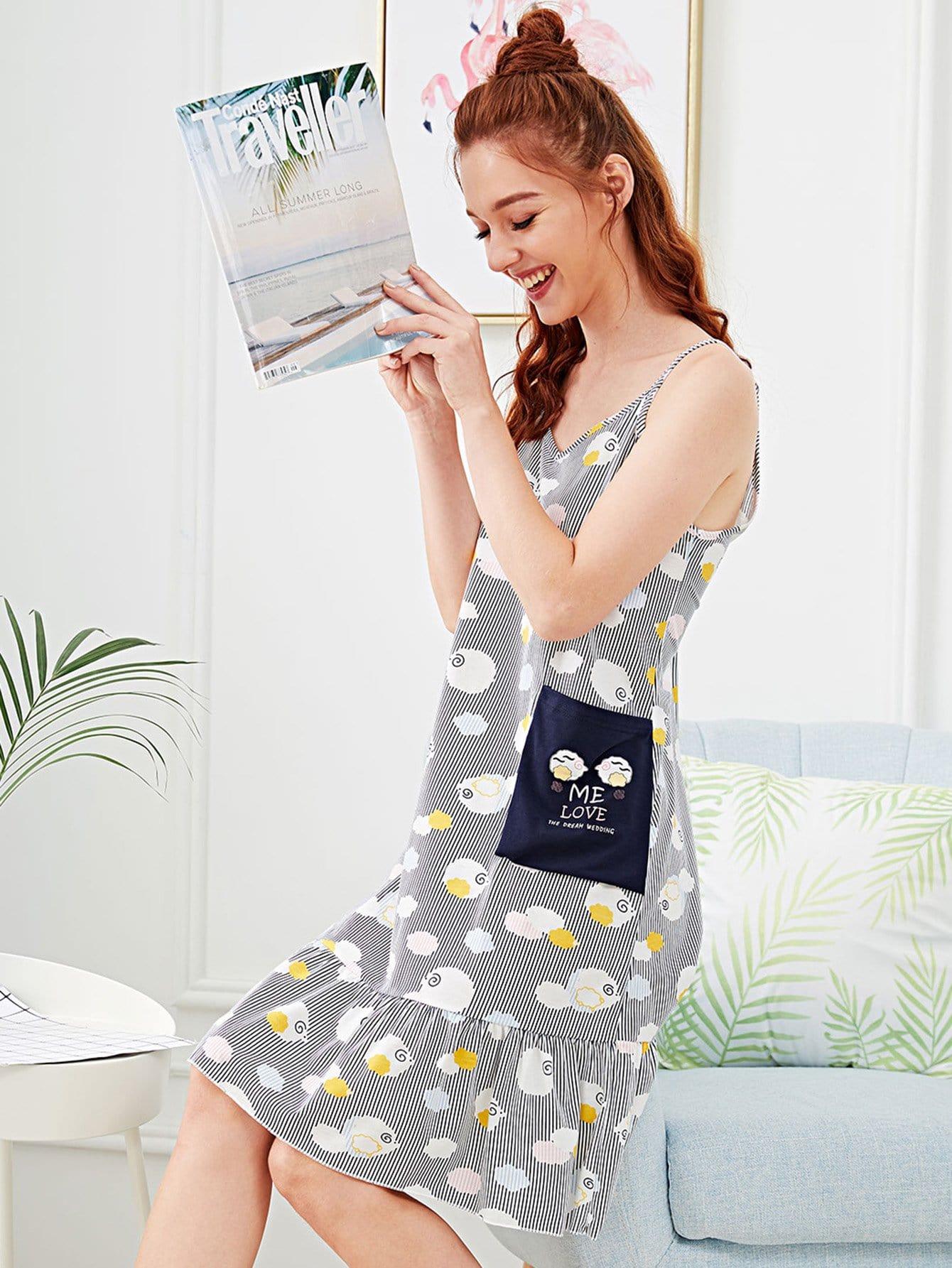 Cartoon Print Ruffle Hem Striped Night Dress ruffle strap and hem striped dress