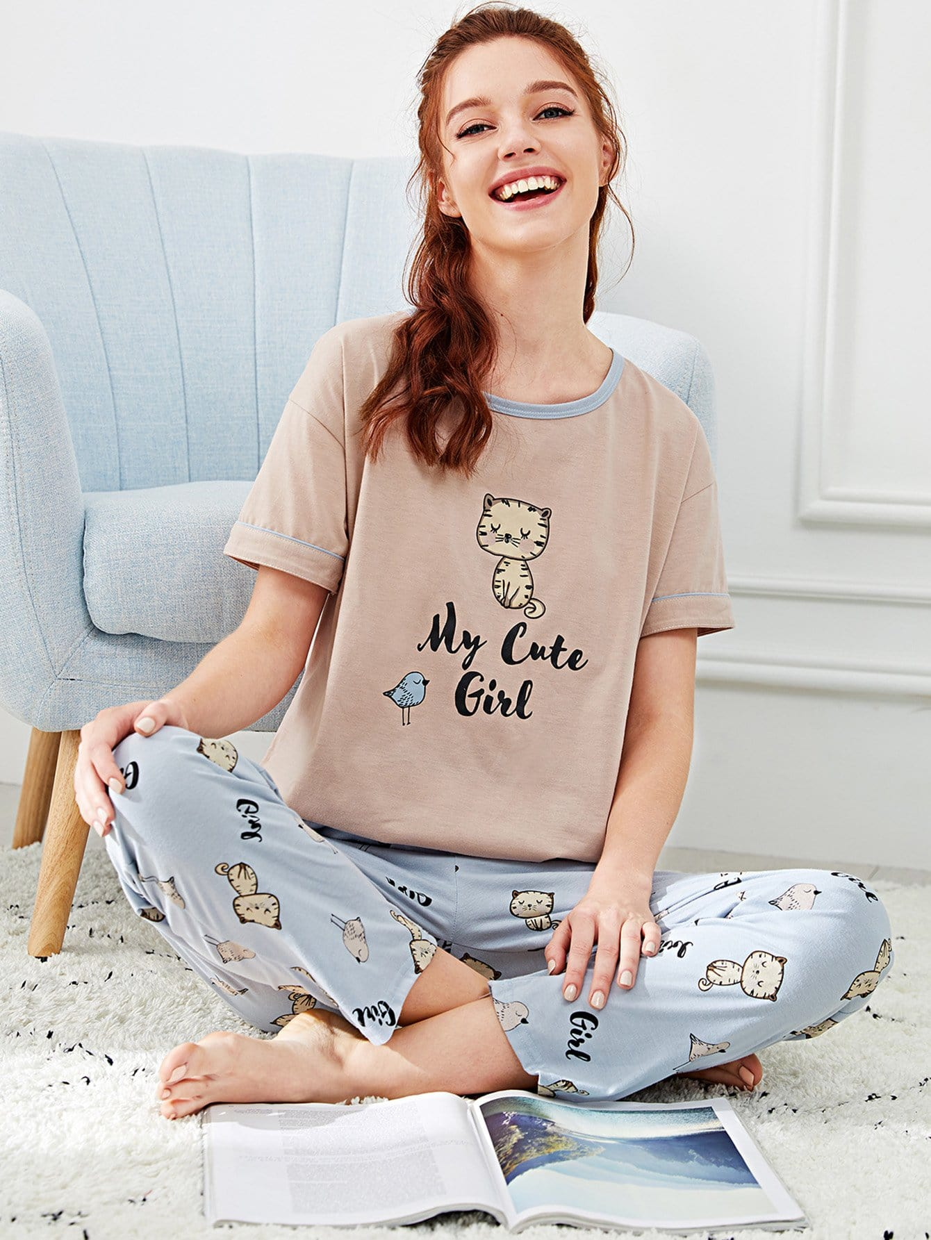 Купить Комплект пижамы с принтом надпись и мультики, Poly, SheIn