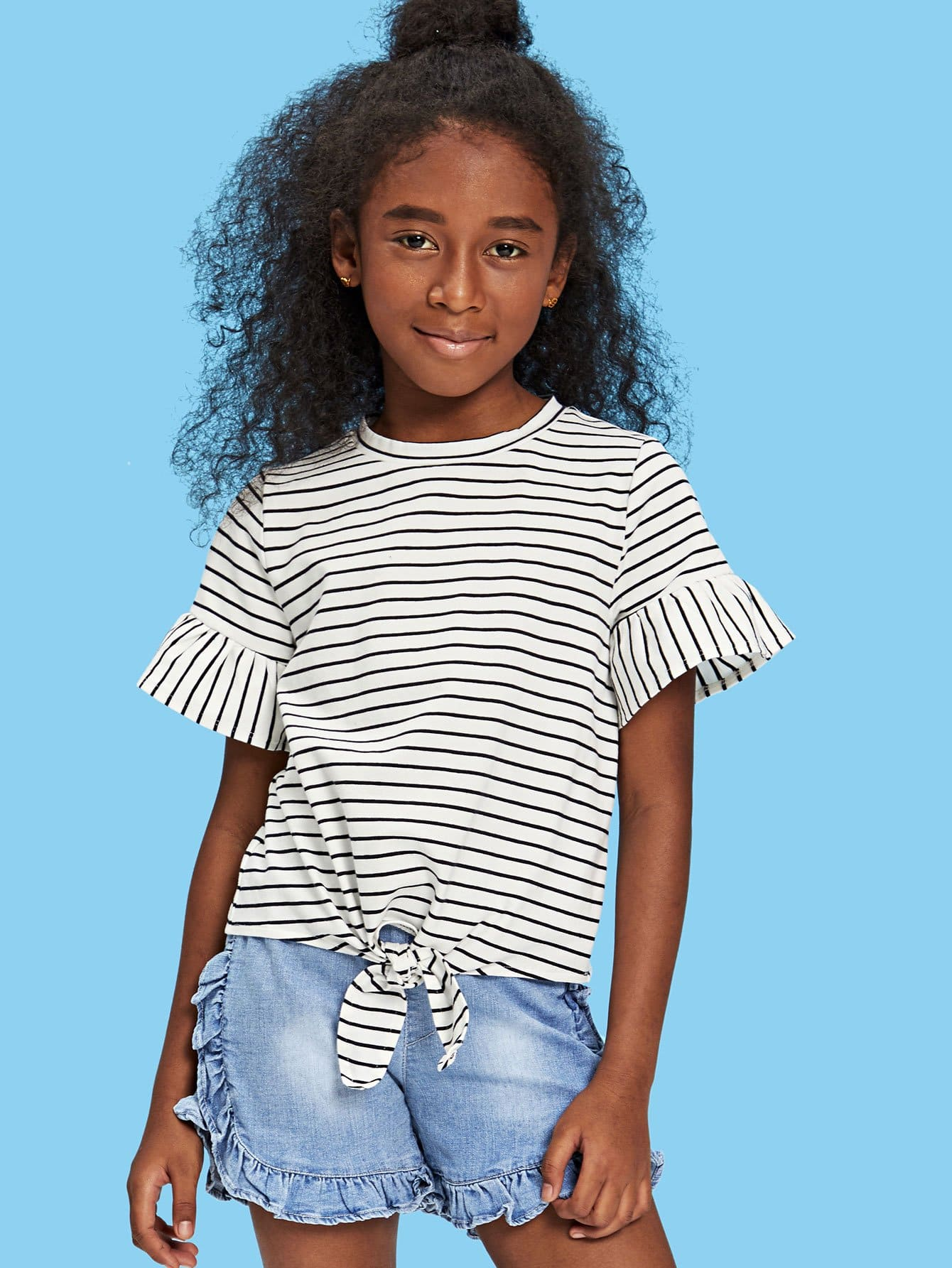 Girls Flounce Sleeve Knot Front Striped Top knot front flutter sleeve striped top