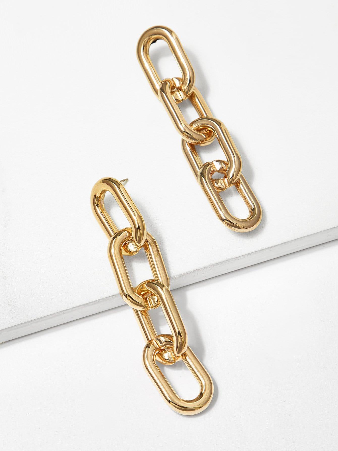 Chain Shaped Drop Earrings scissors shaped drop hook earrings