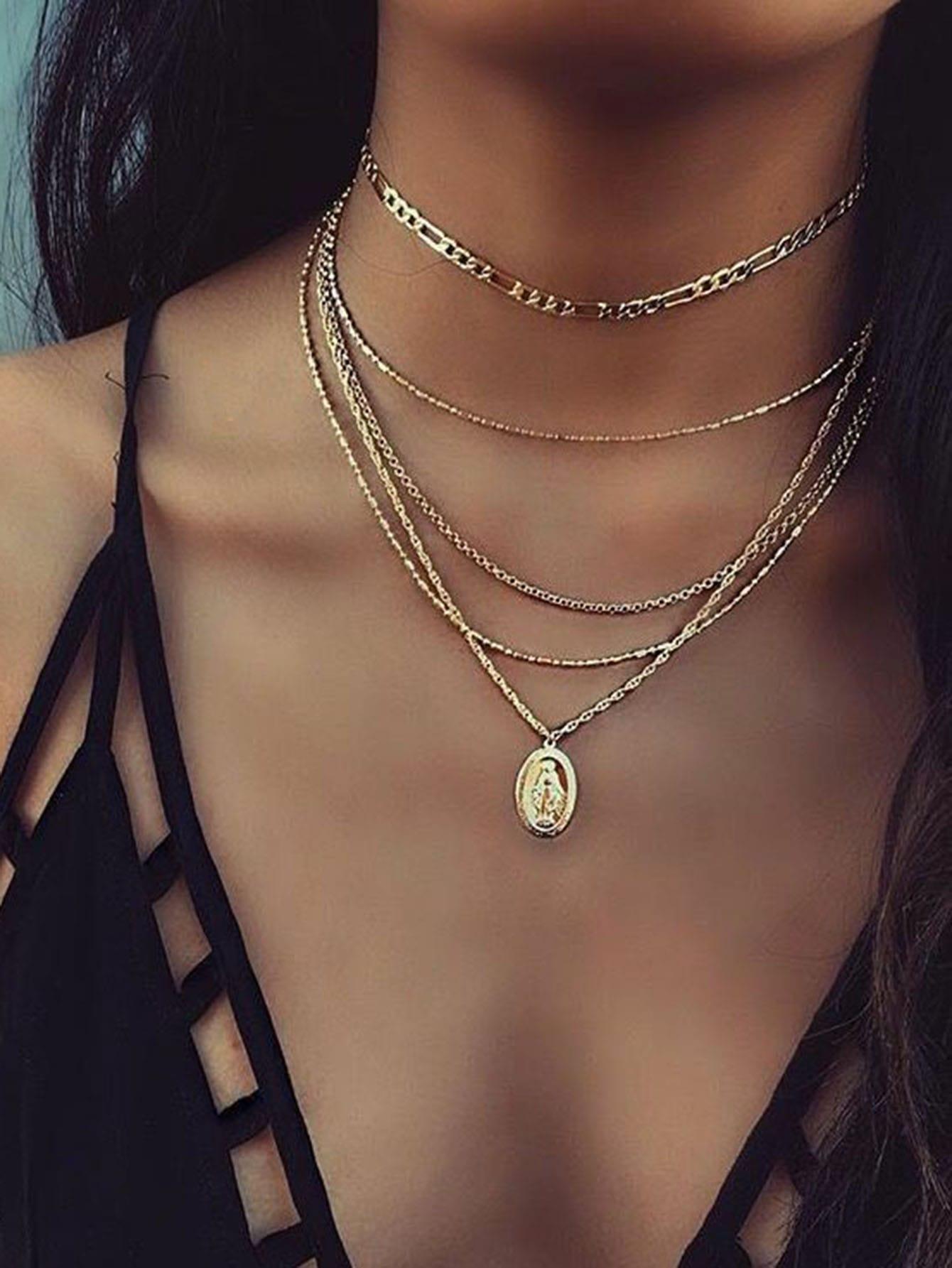 Metall Anhänger geschichteten Kette Halskette