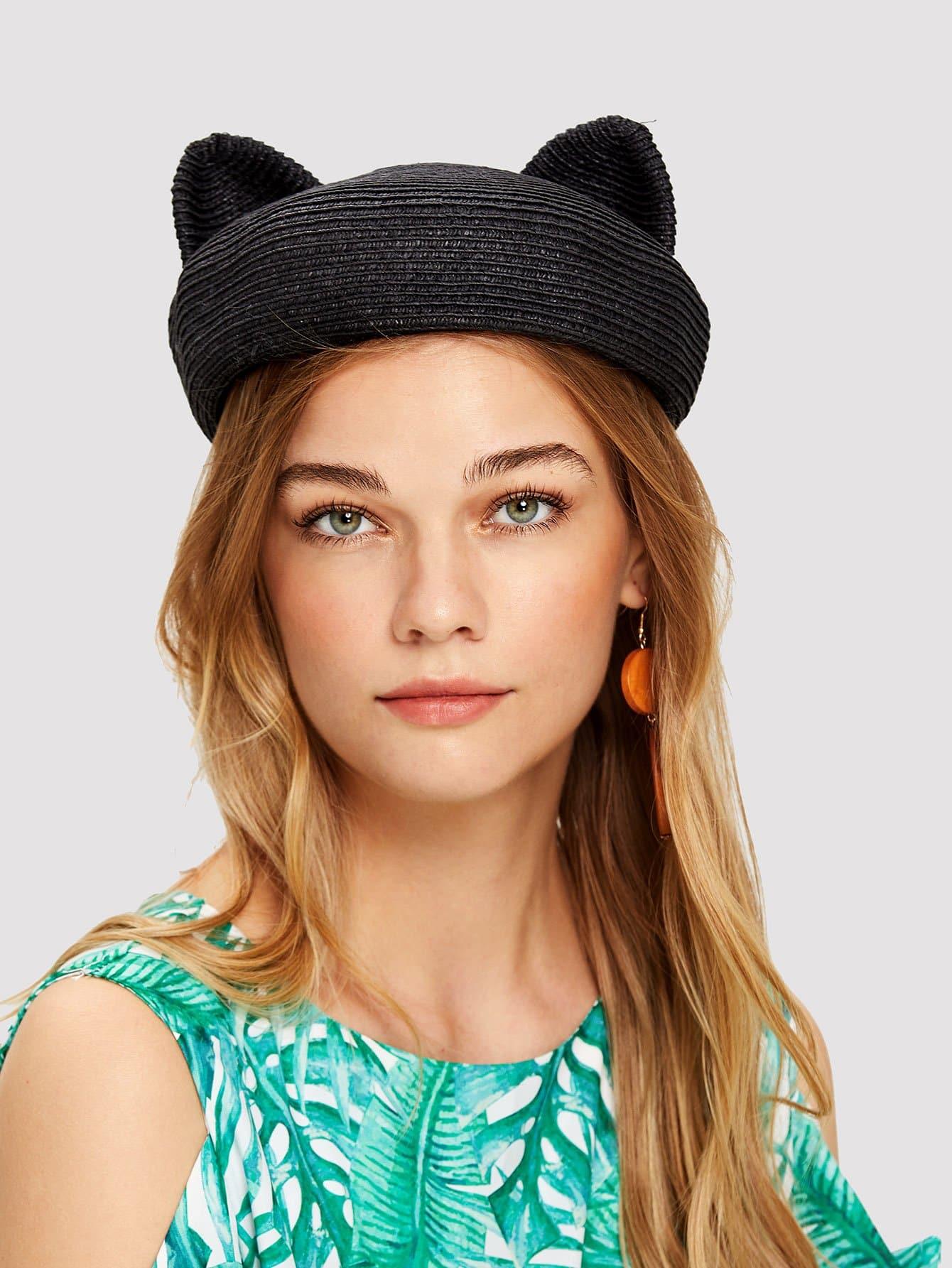 Cute Ear Straw Hat cute style cotton polar fleece warmer ear hat for boy coffee