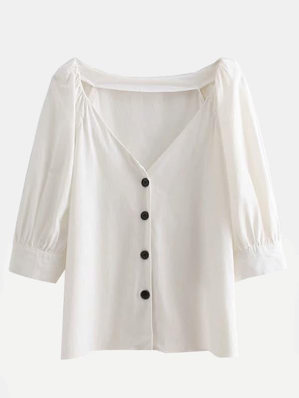 Button Front Blouse button front striped blouse