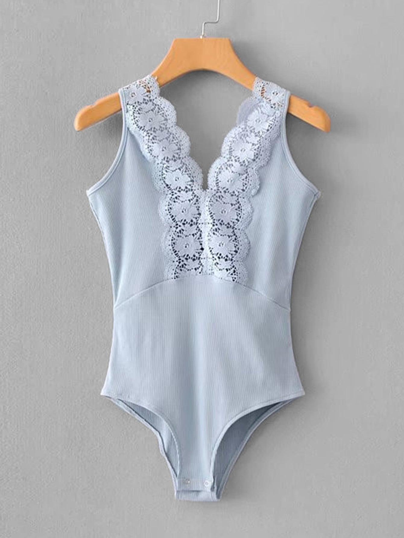 Lace Panel U Back Bodysuit embroidered lace panel bodysuit