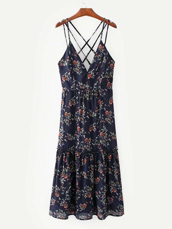 All Over Florals Lattice Back Dress all over florals m slit dress