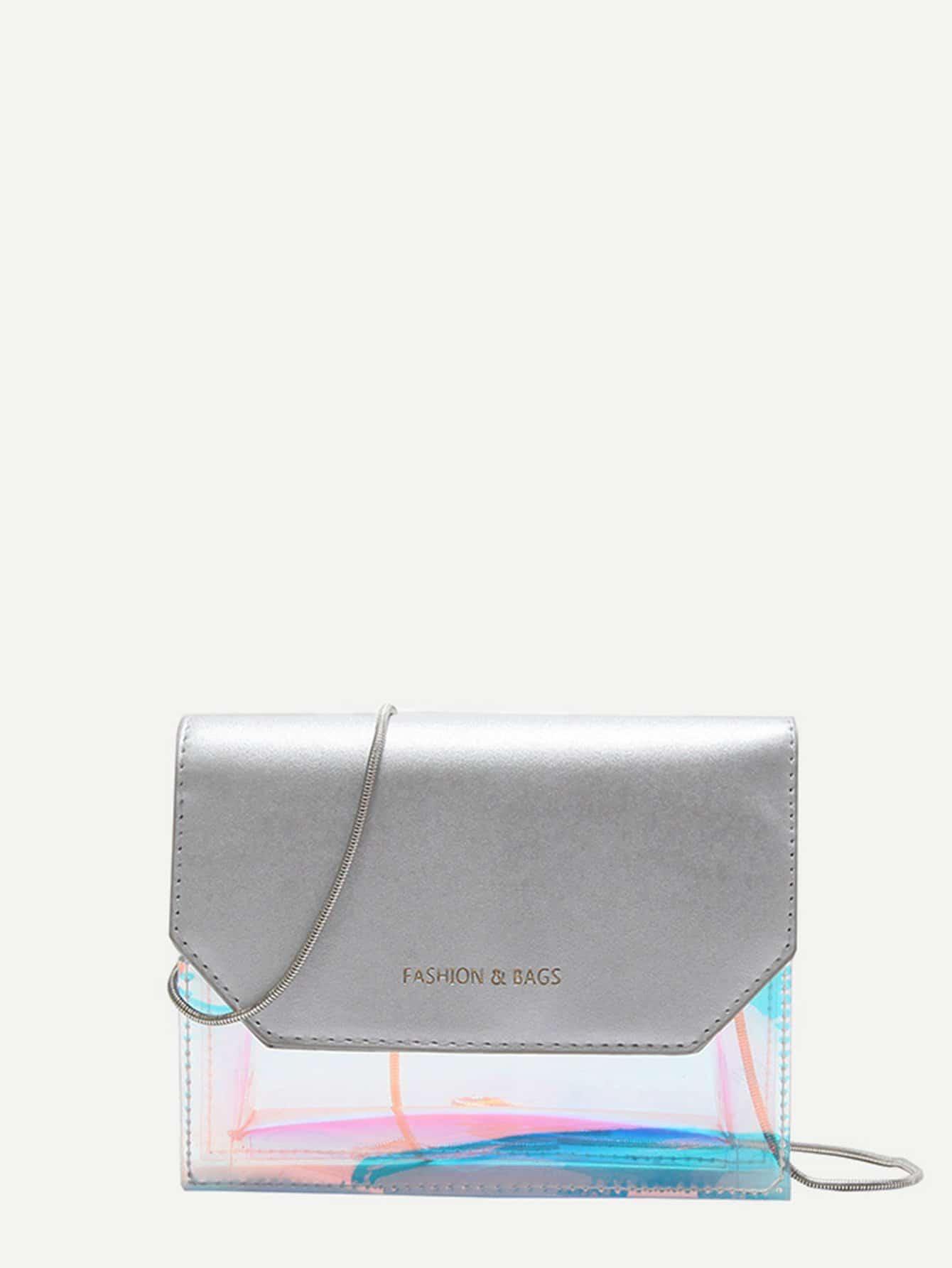 Iridescent Detail Chain Bag iridescent tote bag