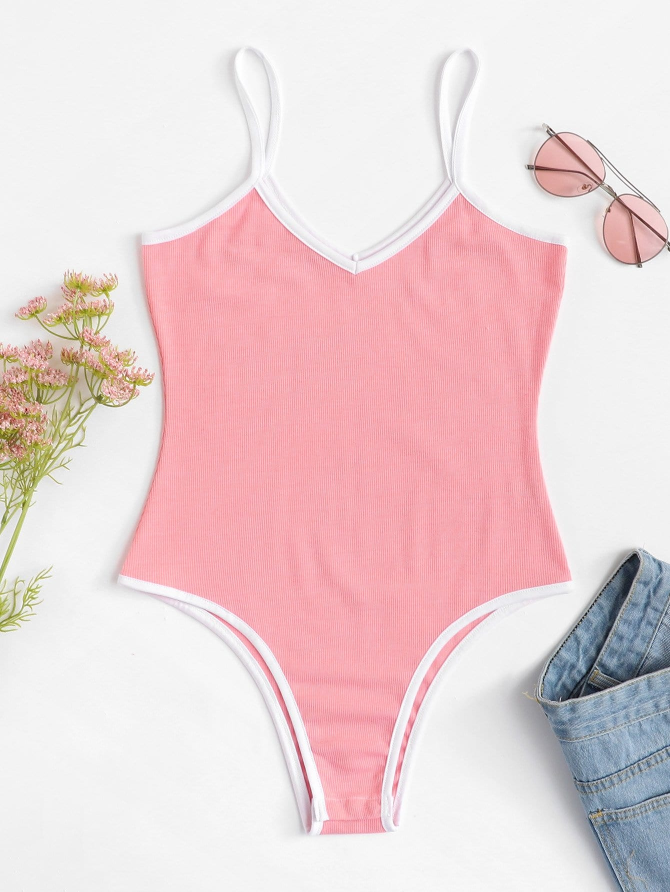 Contrast Trim Ribbed Cami Bodysuit