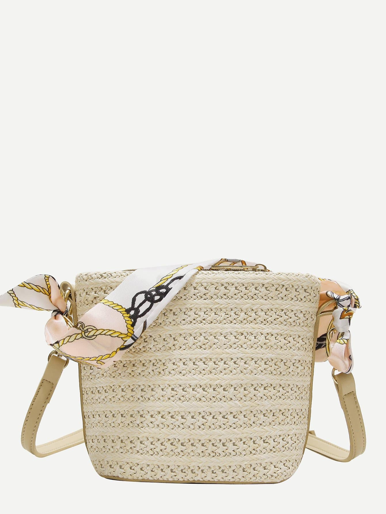 Twilly Scarf Decor Woven Shoulder Bag bow decor flower woven tote bag