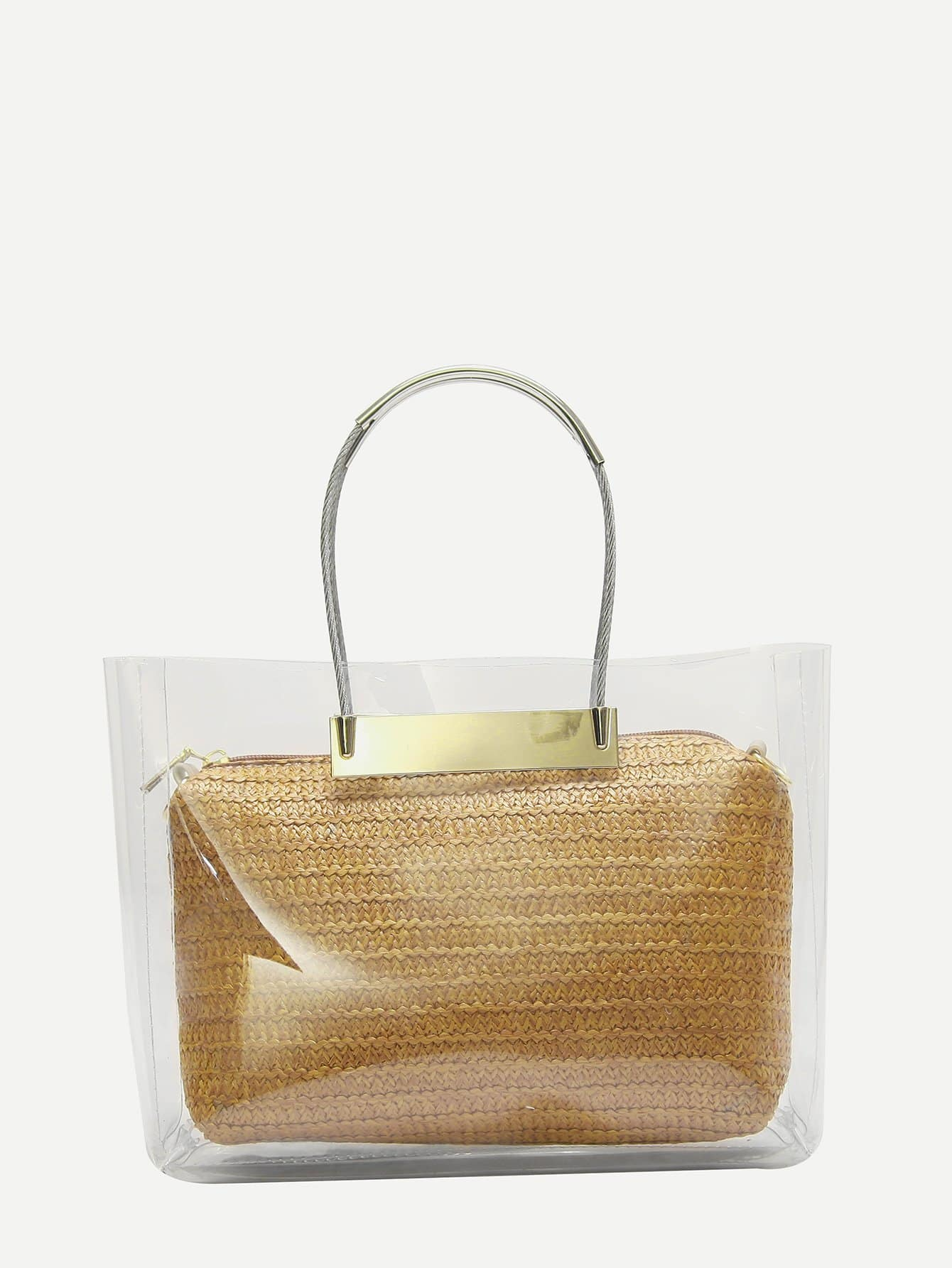 Clear Tote Bag With Clutch transparent envelope clutch bag